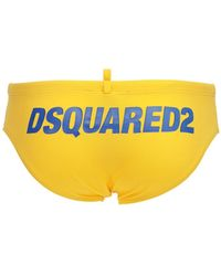 DSquared² Badeshorts Aus Nylon Mit Logodruck - Gelb