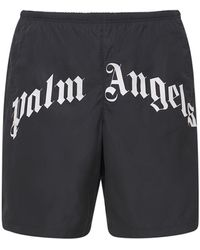 Palm Angels Badeshorts Aus Nylon Mit Logo - Schwarz