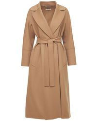 Max Mara Elisa Double Wool Wrap Long Coat - Natural