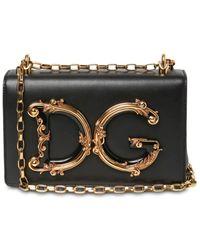Dolce & Gabbana Dg Girls Barocco レザーショルダーバッグ - ブラック