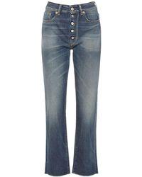 MM6 by Maison Martin Margiela High Waist Cotton Denim Straight Jeans - Blue