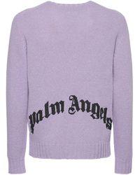 Palm Angels Pullover Aus Wollmischstrick Mit Logo - Lila