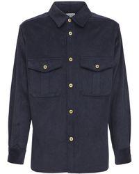 Loewe Hemdjacke Aus Baumwollkord - Blau
