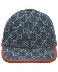 Gucci Baseballkappe Mit Gg Vintage-effekt - Blau