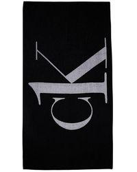 Calvin Klein Toalla De Algodón Con Logo - Negro