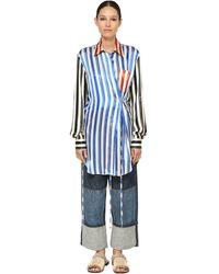 Loewe Рубашка Из Шелкового Атласа - Синий