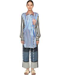 Loewe シルクサテンロングシャツ - ブルー