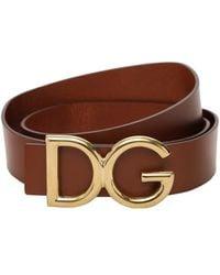 Dolce & Gabbana Dg レザーベルト 35mm - ブラウン