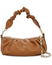MANU Atelier Ruched Cylinder Chain Soft Leather Bag - Brown