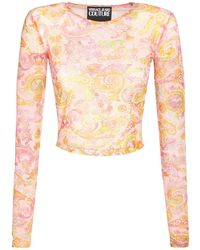 Versace Jeans Couture Printed Mesh Top - Pink