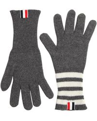 Thom Browne Cashmere Knit Gloves W/ Stripes - Gray