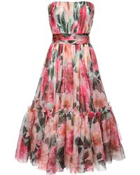 Dolce & Gabbana Платье Из Шелковой Органзы - Розовый