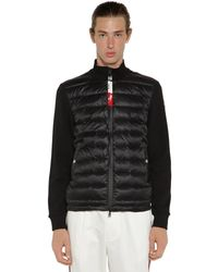 Moncler Daunensweater Aus Nylon Und Trikot - Schwarz