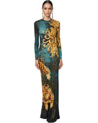 DSquared² Long Printed Stretch Crepe Dress - Multicolor
