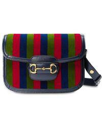 Gucci - 1955 Horsebit ベルベット&レザーバッグ - Lyst