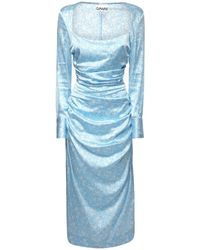 Ganni Midikleid Aus Stretch-seidensatin - Blau