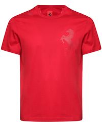 Ferrari Logo Print Cotton T-shirt - Red