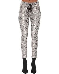 Unravel Project Python Printed Leather Lace Up Trousers - Natural
