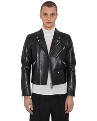 Bottega Veneta Leather Biker Jacket - Black