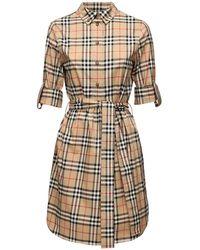 Burberry Платье-рубашка Из Хлопка Поплин - Естественный