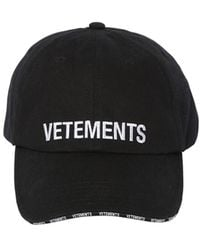 Vetements Logo Embroidered Distressed Baseball Cap - Black