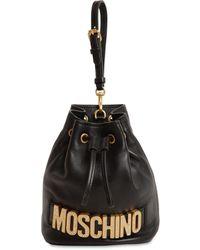 Moschino Clutch Aus Leder Mit Logo - Schwarz