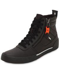 DIESEL Hohe Sneakers Aus Leder - Schwarz