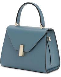 Valextra Mini Iside Leather Top Handle Bag - Blau