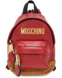 Moschino Mikro Rucksack Aus Leder Mit Logo - Rot