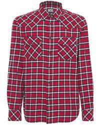 DIESEL Рубашка Из Орг. Хлопковой Фланели - Красный