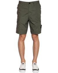 Stone Island Cotton Parachute Cargo Shorts - Green