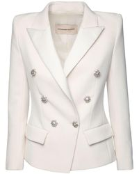 Alexandre Vauthier Double Breasted Crepe Blazer - White