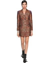 Etro Wool Jacquard Brocade Jacket Dress - Brown