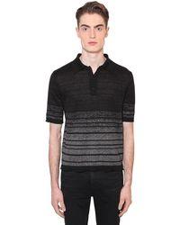 Saint Laurent Рубашка Поло Из Льна С Люрексом - Черный