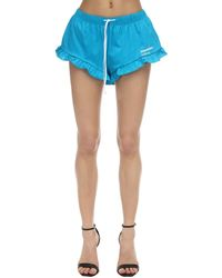 DSquared² Printed Cotton Jersey Shorts W/ Ruffle - Blue