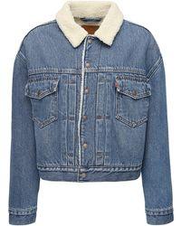 Levi's Jacke Aus Denim Und Kunstshearling - Blau