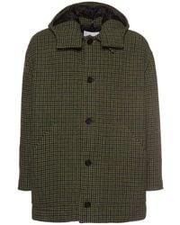 MSGM Virgin Wool Coat W/ Detachable Hood - Green