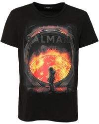 Balmain プリントコットンtシャツ - ブラック