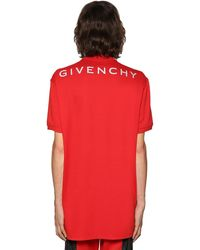 Givenchy Oversize Reflective Logo Cotton Polo - Red