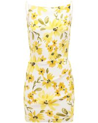 Bec & Bridge Daphne Printed Satin Mini Dress - Yellow