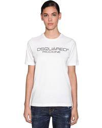 DSquared² Camiseta De Algodón Jersey Estampada - Blanco