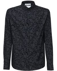 Moschino Рубашка Из Хлопка С Принтом - Черный