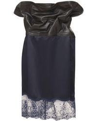 Y. Project Mini-jupe En Satin Et Dentelle Avec Armature - Bleu