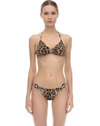 Dolce & Gabbana Dreiecks-bikini Aus Lycra Mit Haken Und Druck - Mehrfarbig
