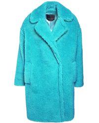 Marina Rinaldi Teddymantel Aus Wollmischung - Blau