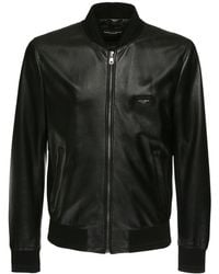 Dolce & Gabbana Leather Jacket With Branded Plate - Negro