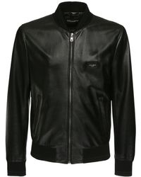 Dolce & Gabbana Leather Jacket With Branded Plate - Noir