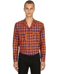 Etro Houndstooth Cotton Jacquard Pyjama Shirt - Orange