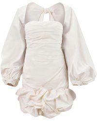 Johanna Ortiz Mini-robe En Popeline De Coton Stretch Avec Noeud - Neutre
