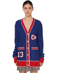 "Off-White c/o Virgil Abloh Cardigan ""University Flag"" In Maglia Di Misto Lana - Blu"